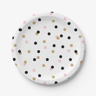 Black Pink and Gold Confetti Dots Paper Plate