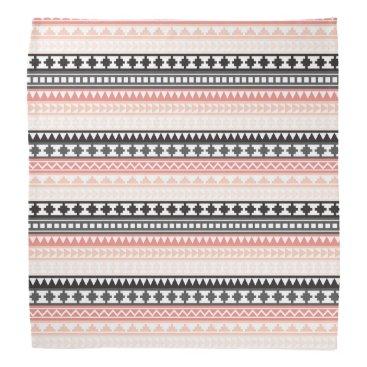 Aztec Themed Black, Pink and Gray Striped Aztec Tribal Pattern Bandana