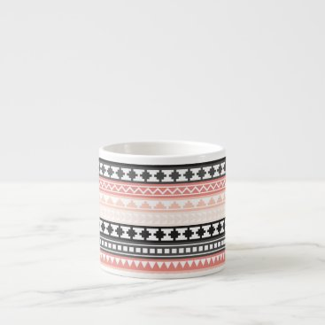 Aztec Themed Black, Pink and Gray Striped Aztec Tribal Pattern Espresso Cup