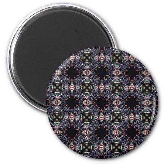 Black Pink and Green Mandala Fractal Pattern Magnet