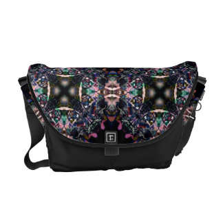 Black Pink and Green Mandala Fractal Pattern Courier Bag