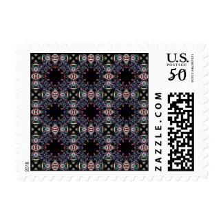 Black Pink and Green Mandala Fractal Pattern Postage