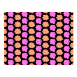 Black, Pink and Orange Floral Pattern. Postcard