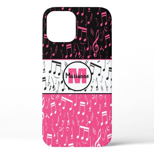Black pink and white music notes Case-Mate iPhone