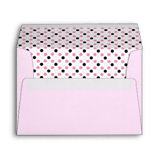 Black pink and white polka dots Greeting cards Envelope