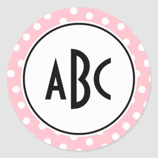 Black Pink and White Polka Dots Monogram Classic Round Sticker