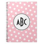 Black Pink and White Polka Dots Monogram Note Books
