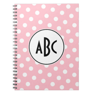 Black Pink and White Polka Dots Monogram Spiral Notebook