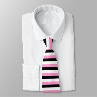Black, pink and white stripes necktie