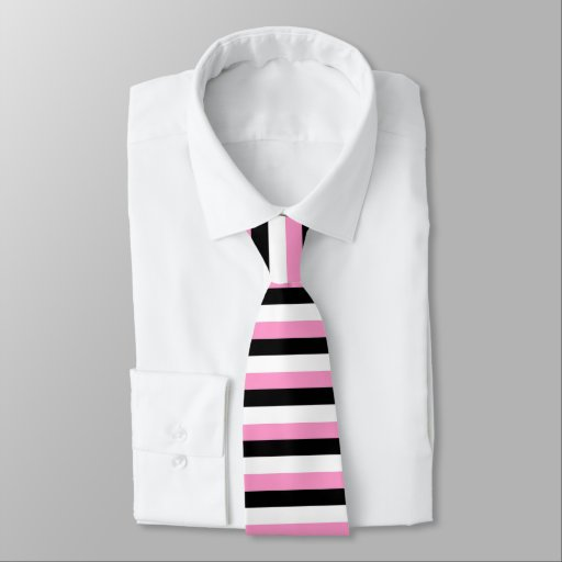Black, pink and white stripes necktie