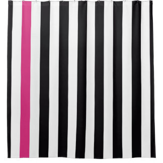 Nice Black Pink And White Stripes Shower Curtain