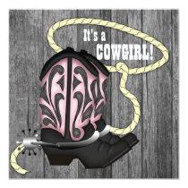 Black Pink Barn Wood Cowgirl Baby Shower Invitation