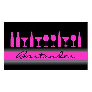 Black pink bartender drinks business card