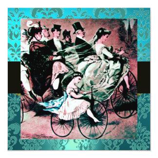 BLACK PINK BLUE BICYCLE WEDDING DAMASK MONOGRAM INVITATION