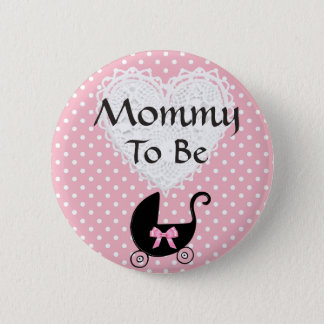 Black & Pink Bow Mommy to be Baby Shower Button