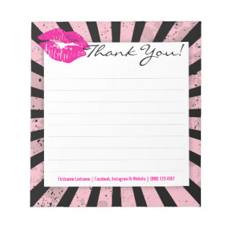 Black & Pink Burst with Pink Lips Custom Notepad