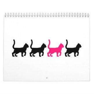 Black pink cats calendar
