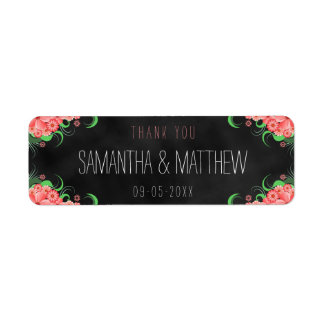 Black Pink Chalkboard Floral Wedding Favor Labels
