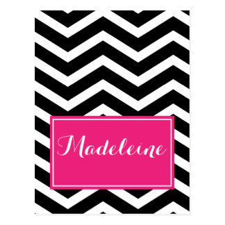 Black pink chevron custom name postcard