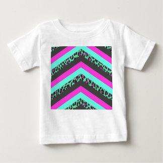 Black Pink Chevron Stripes  Teal Cheetah Print Baby T-Shirt