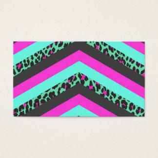 Black Pink Chevron Stripes  Teal Cheetah Print Business Card