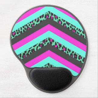 Black Pink Chevron Stripes  Teal Cheetah Print Gel Mouse Pad