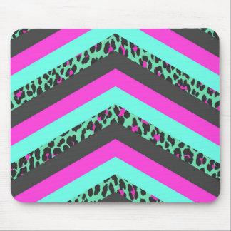Black Pink Chevron Stripes  Teal Cheetah Print Mouse Pad
