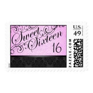 Black & Pink Chic Floral Damask Sweet16 Stamp