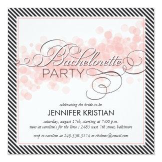 Black Pink Confetti Bachelorette Party Invitation