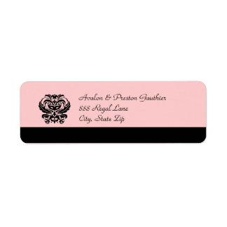 Black & Pink Crest Masquerade Mask Address Label