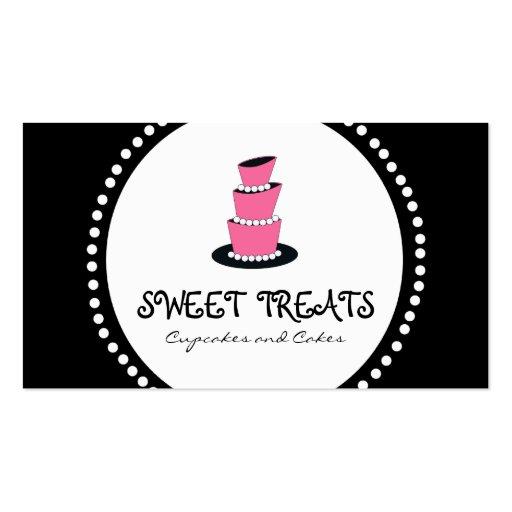 Black Pink Cupcake Cake Bakery Business Cards
