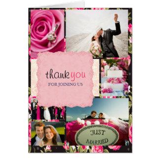 Black & Pink Custom Photos Wedding Thank You Card