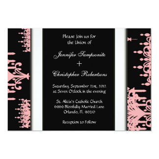Black & Pink Damask Chandelier Pattern Black & Whi Card