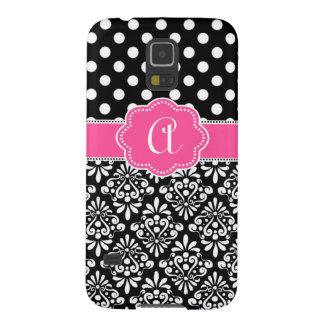 Black Pink Damask Dots Monogram Galaxy S5 Case