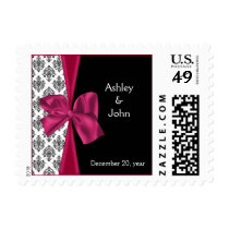 Black Pink Damask FAUX ribbon Wedding Invitations Postage