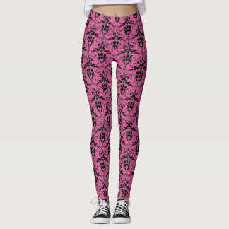 Black Pink Damask Pattern Pick or Custom Color Leggings
