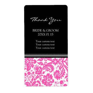 Black Pink Damask Pattern Wedding Labels