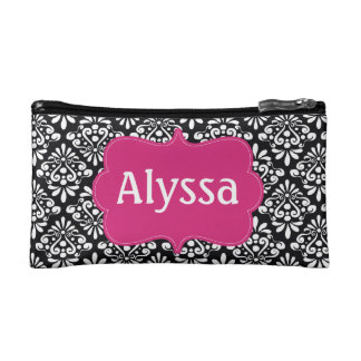 Black Pink Damask Personalized Cosmetics Bags
