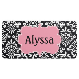 Black Pink Damask Personalized License Plate