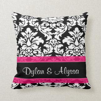 Black Pink Damask Personalized Wedding Pillow