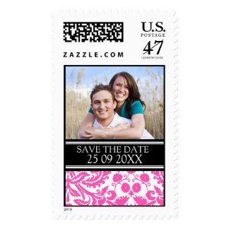 Black Pink Damask Save the Date Wedding Stamps