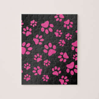Black pink dog paws jigsaw puzzles