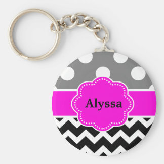 Black Pink Dots Chevron Personalized Keychain