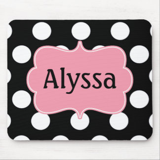 Black Pink Dots Personalized Mousepad