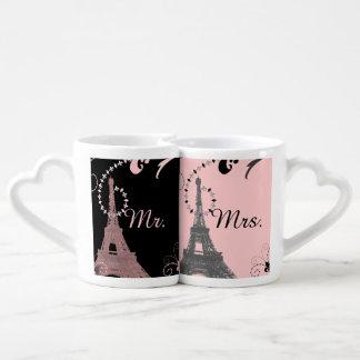 black pink eiffel tower vintage paris wedding coffee mug set
