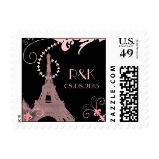 black pink eiffel tower vintage paris wedding postage