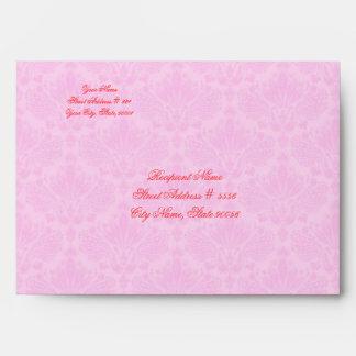 Black & Pink Elegant Damasks & Flower Design Envelopes