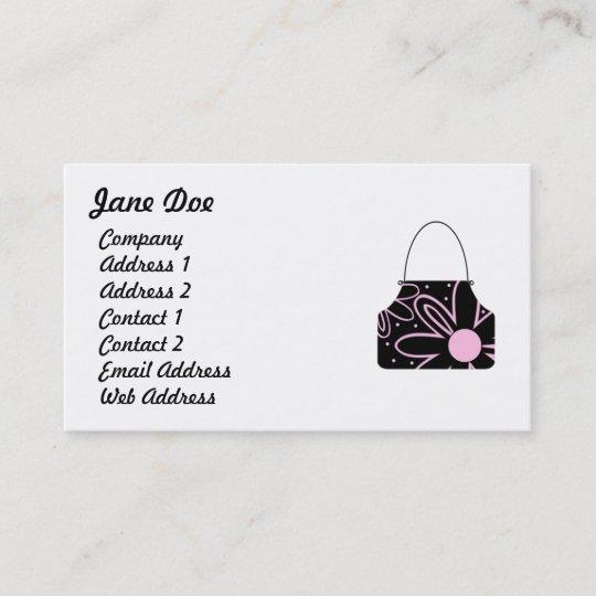 Black Pink Feminine Fl Handbag Business Card