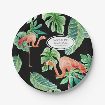 Beach Themed Black Pink Flamingo Bridal Shower Decor Watercolor Paper Plate