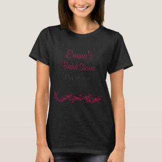 Black & Pink Floral Bridal Shower T-shirt